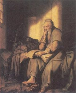 "Rembrandt, ""St. Paul in Prison"""